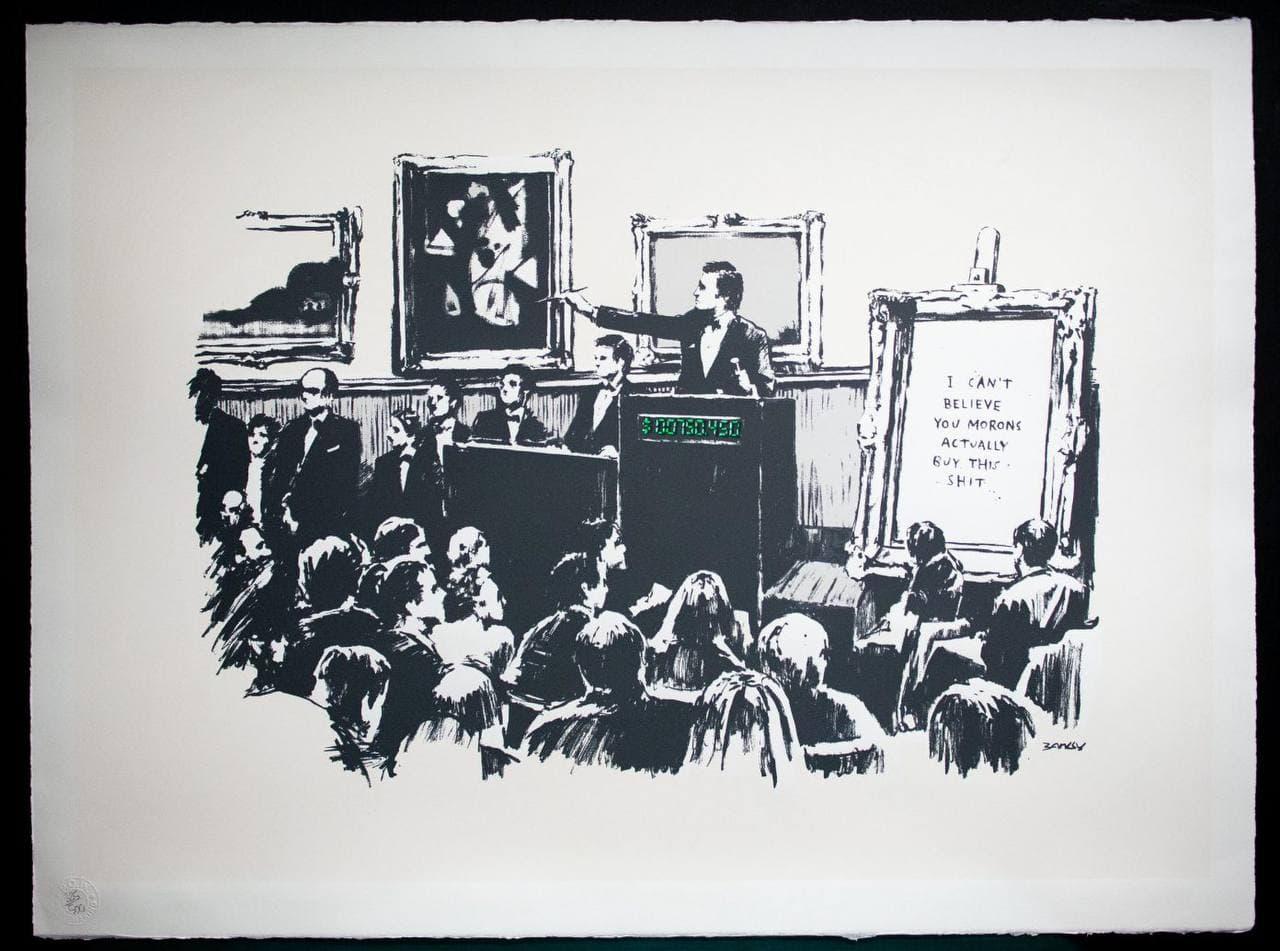 "The Banksy print called ""Morons"""